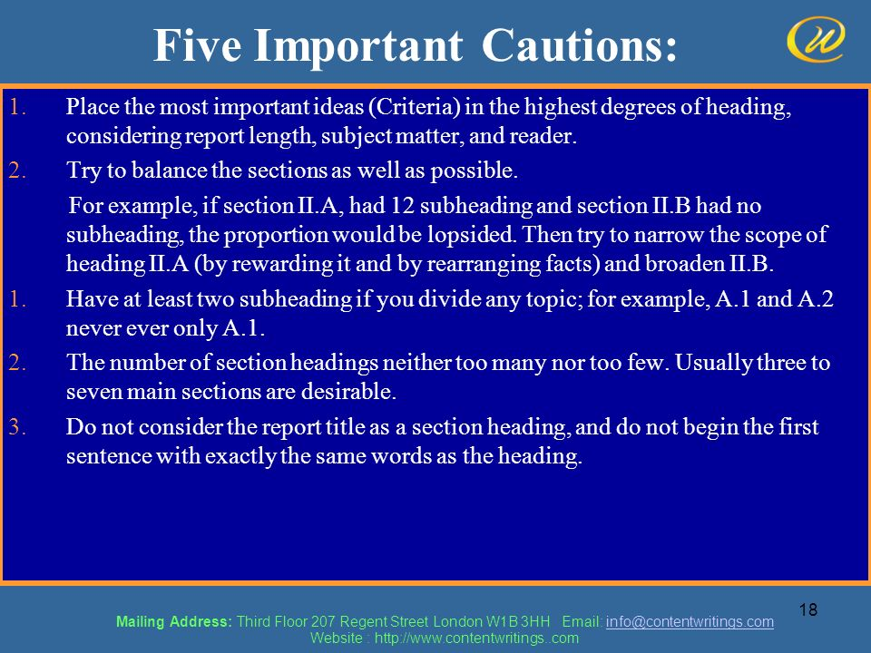 Five Important Cautions: