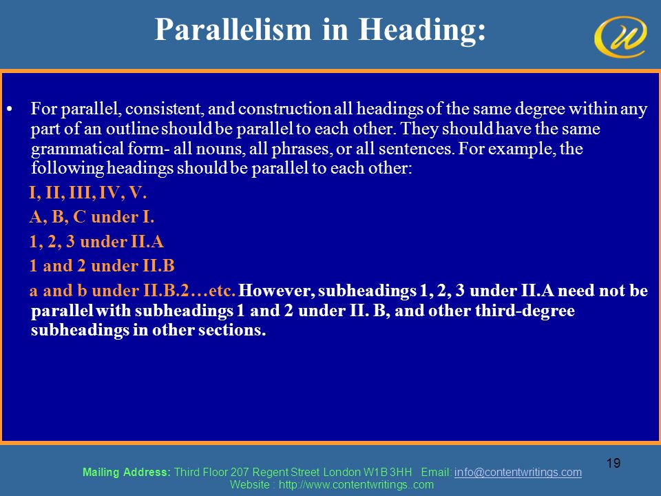 Parallelism in Heading:
