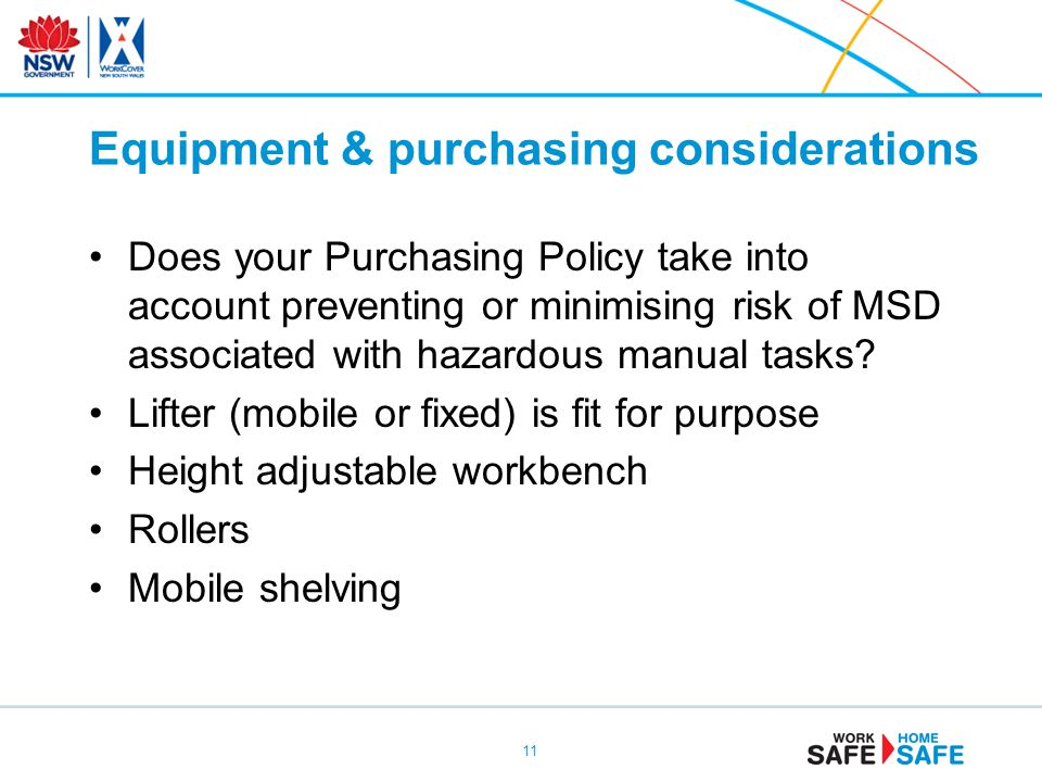 Equipment & purchasing considerations
