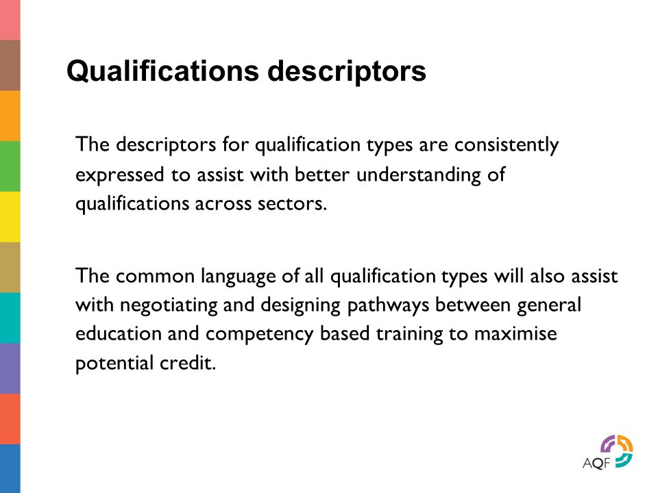 Qualifications descriptors