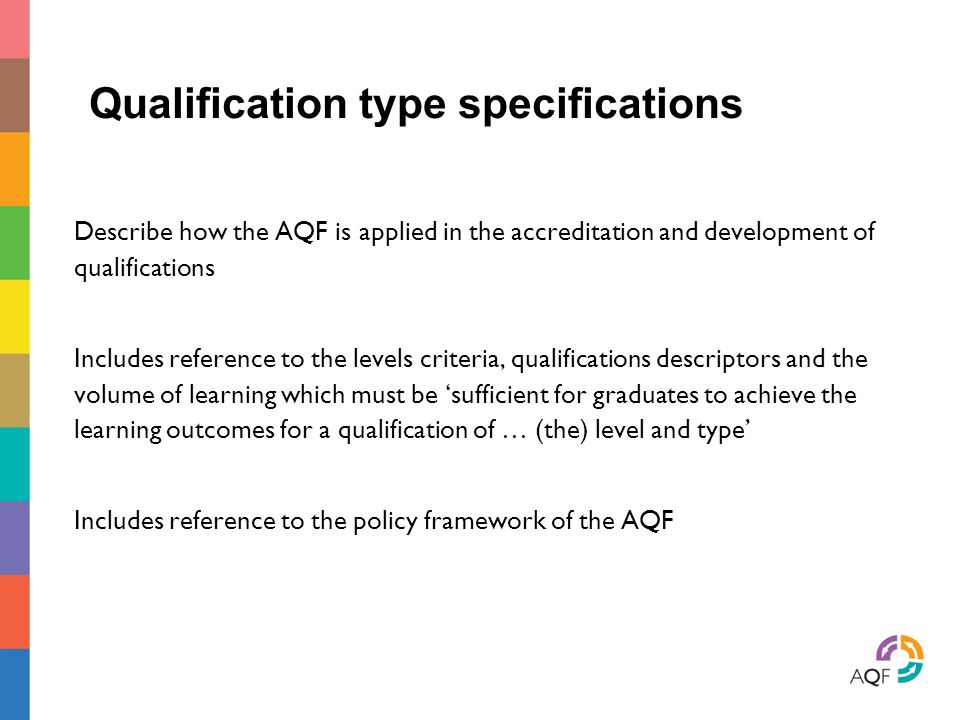 Qualification type specifications