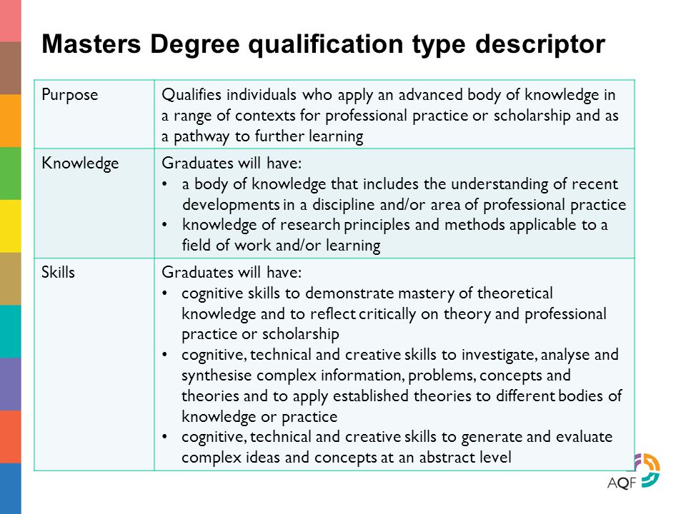 Masters Degree qualification type descriptor