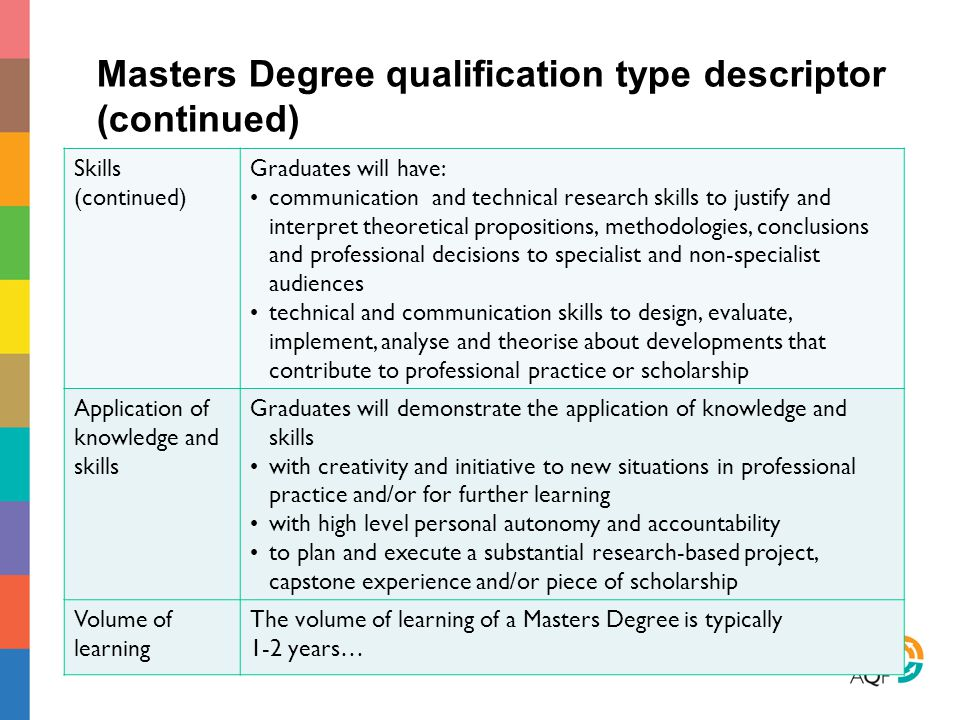 Masters Degree qualification type descriptor (continued)