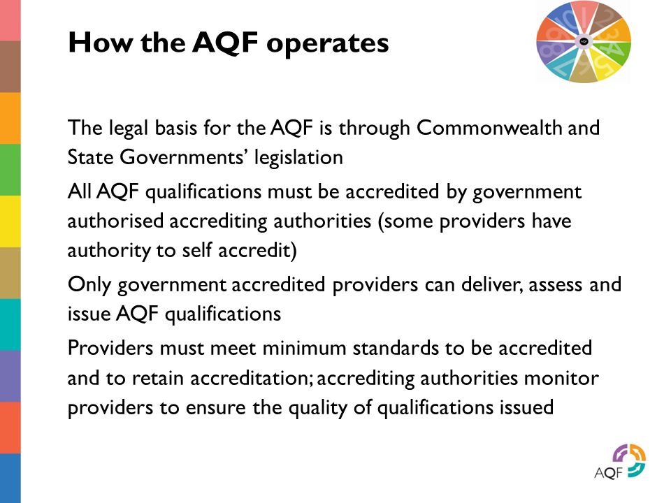 How the AQF operates The legal basis for the AQF is through Commonwealth and State Governments' legislation.