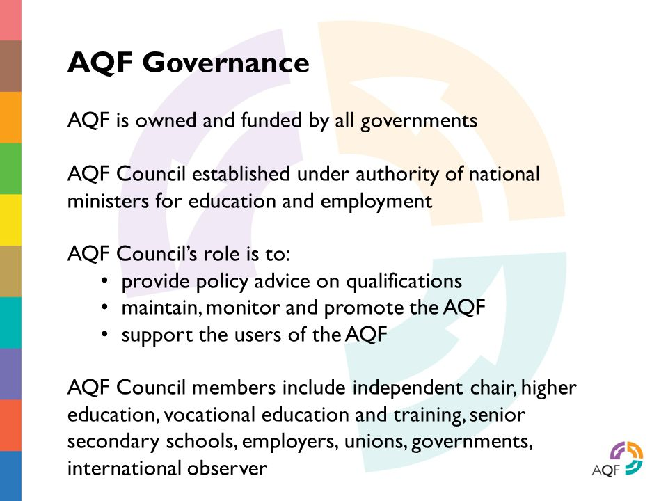 AQF Governance AQF is owned and funded by all governments