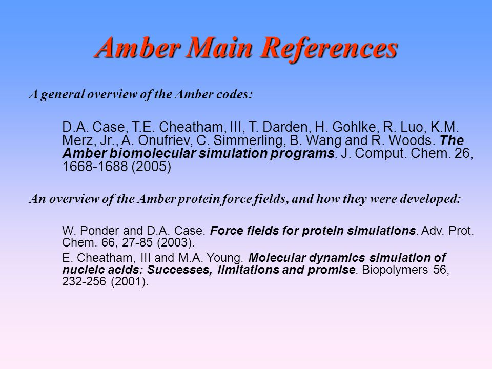 Amber Main References A general overview of the Amber codes: