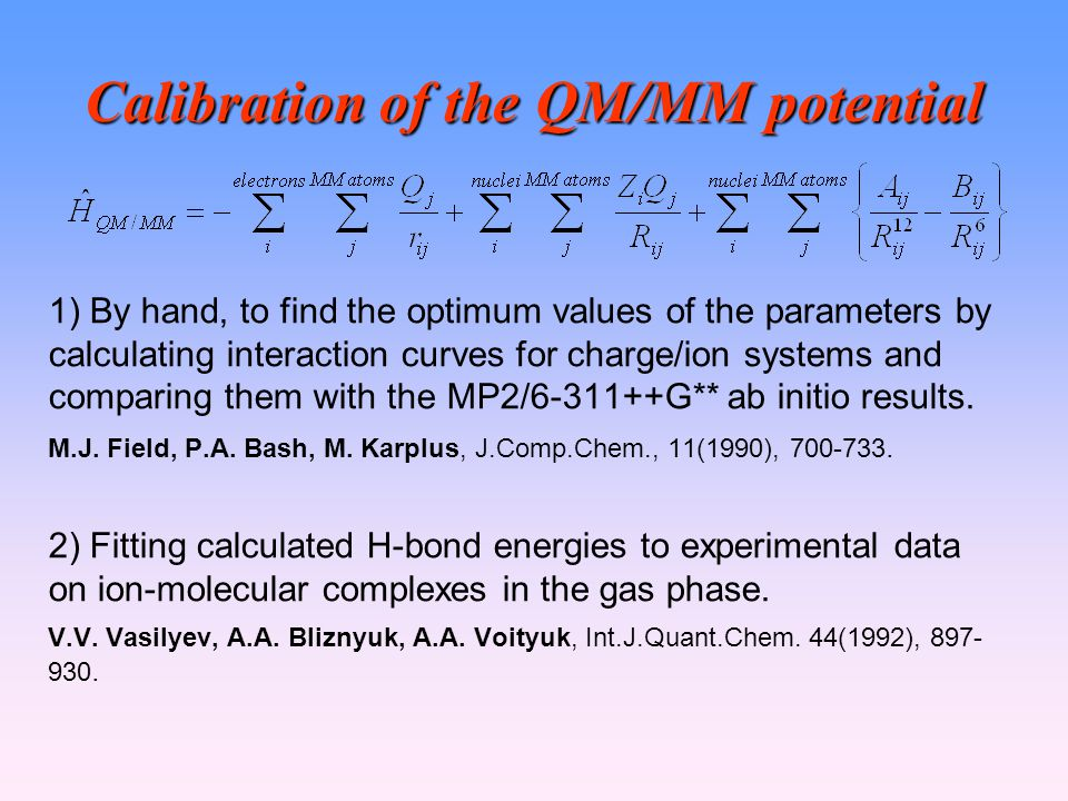 Calibration of the QM/MM potential