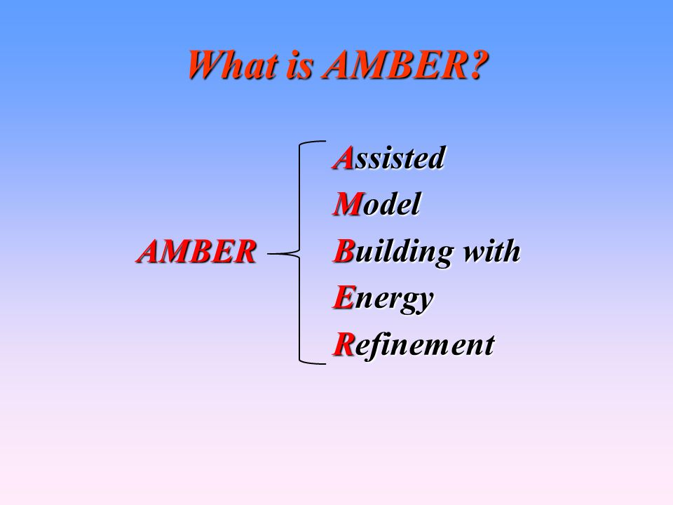 What is AMBER Assisted Model Building with Energy Refinement AMBER 3