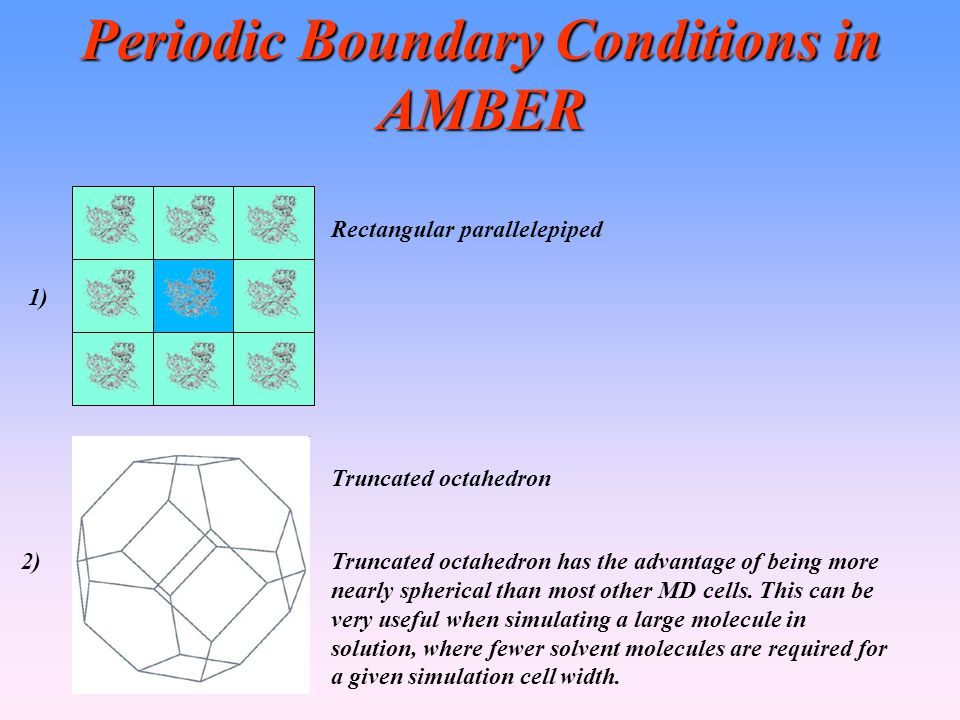 Periodic Boundary Conditions in AMBER