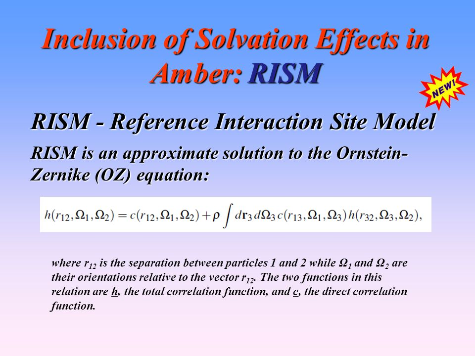 Inclusion of Solvation Effects in Amber: RISM