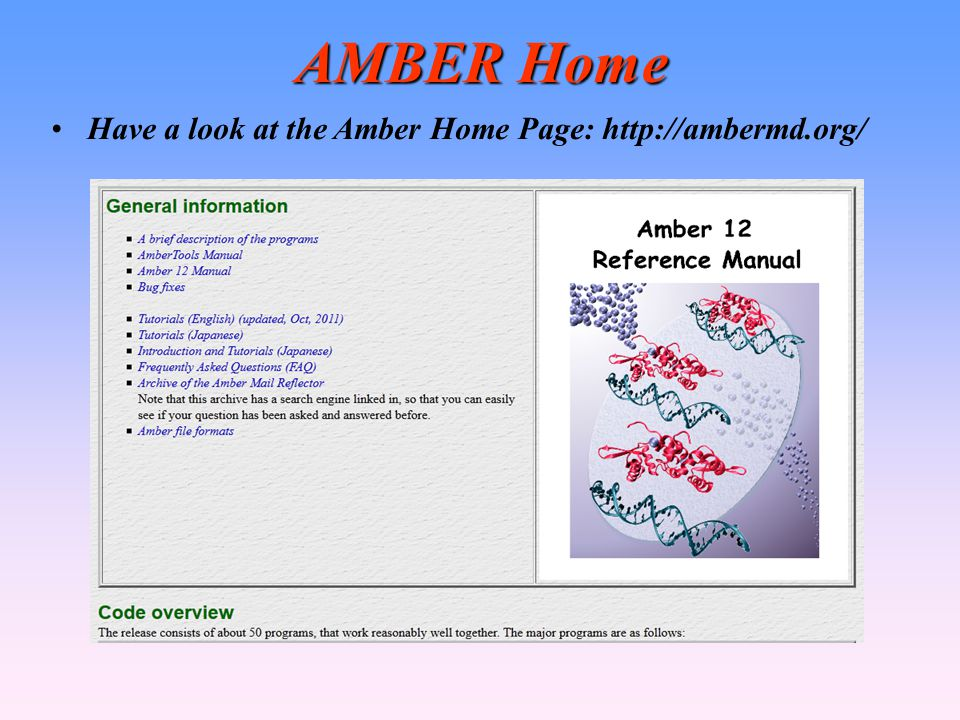 AMBER Home Have a look at the Amber Home Page: http://ambermd.org/ 9