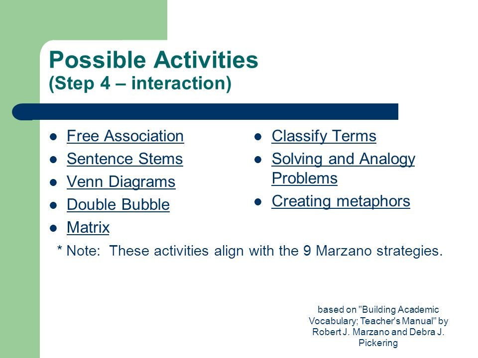 Possible Activities (Step 4 – interaction)