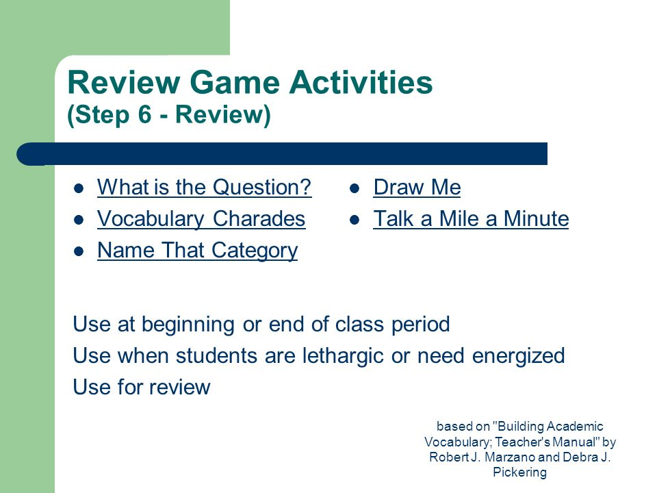Review Game Activities (Step 6 - Review)