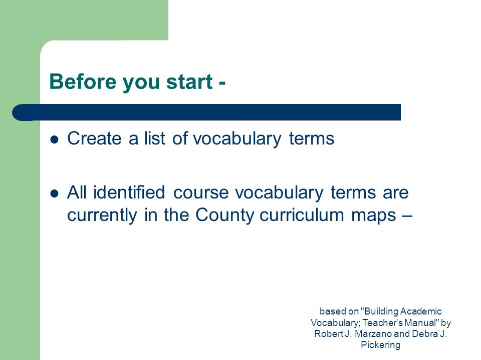 Before you start - Create a list of vocabulary terms