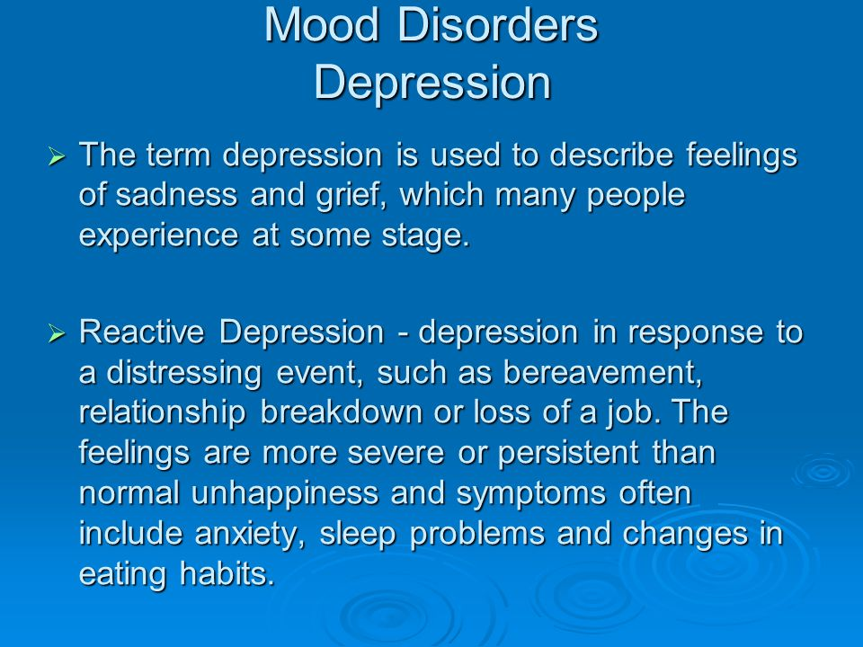 Mood Disorders Depression