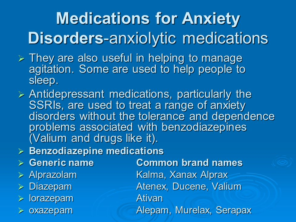 Medications for Anxiety Disorders-anxiolytic medications