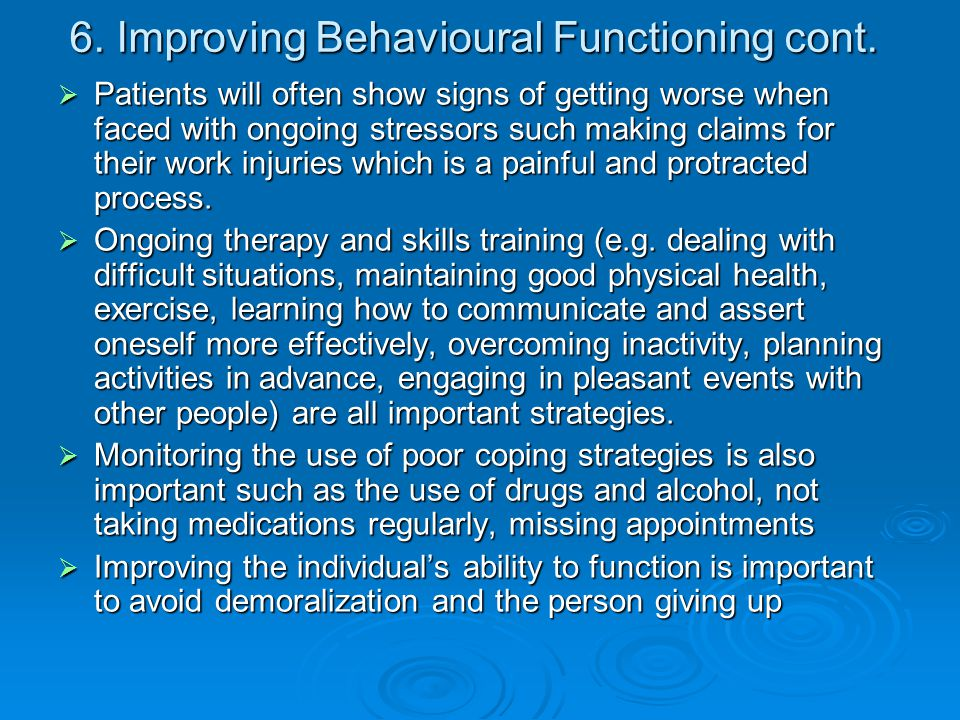6. Improving Behavioural Functioning cont.