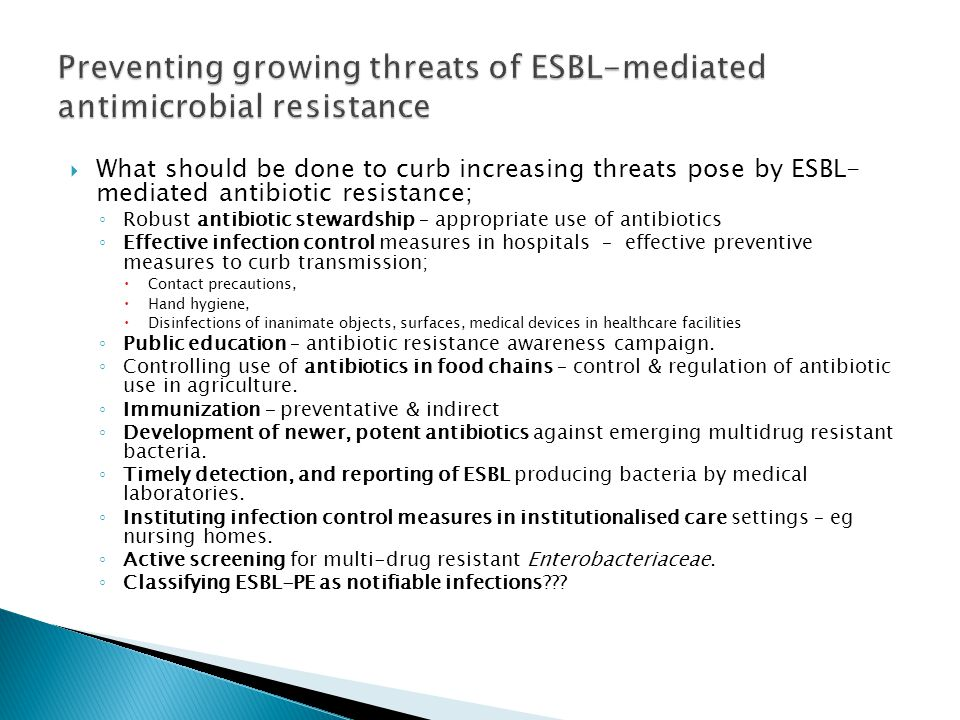 Preventing growing threats of ESBL-mediated antimicrobial resistance