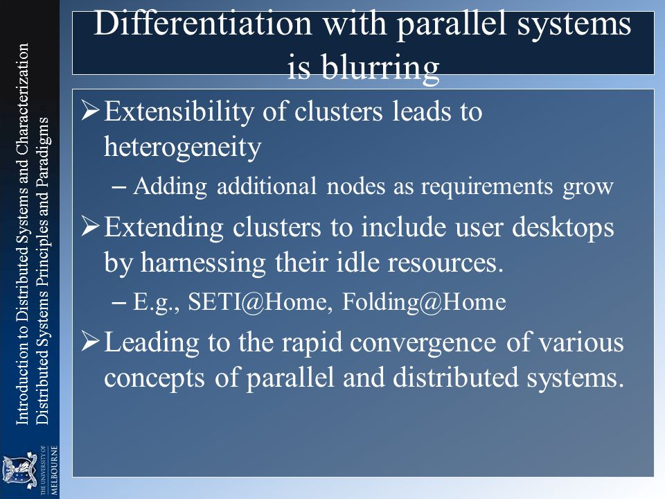 Differentiation with parallel systems is blurring