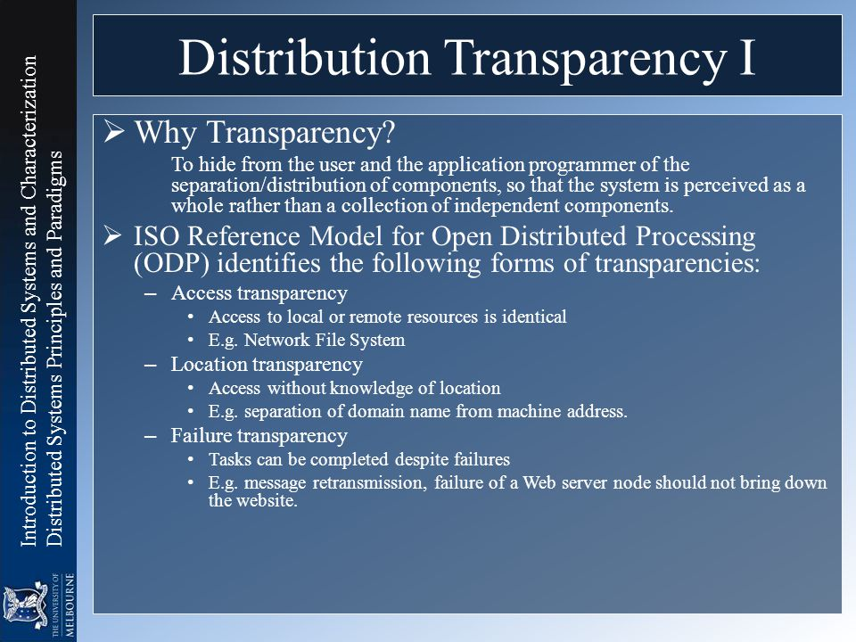 Distribution Transparency I