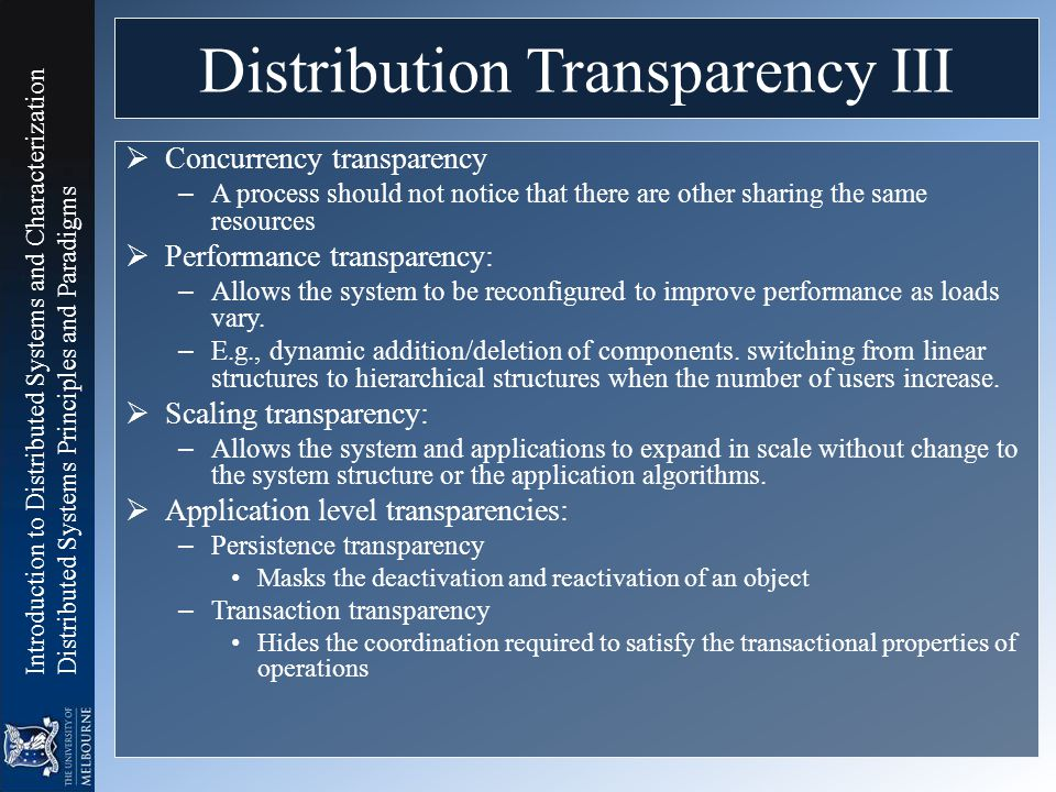 Distribution Transparency III