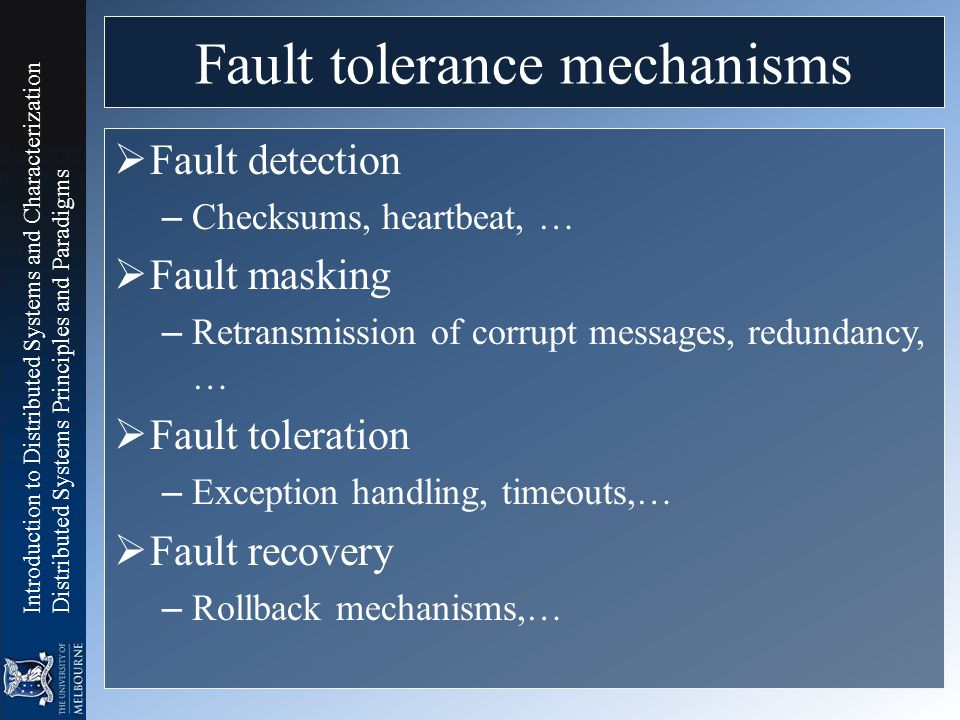 Fault tolerance mechanisms