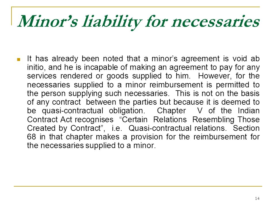 Minor's liability for necessaries