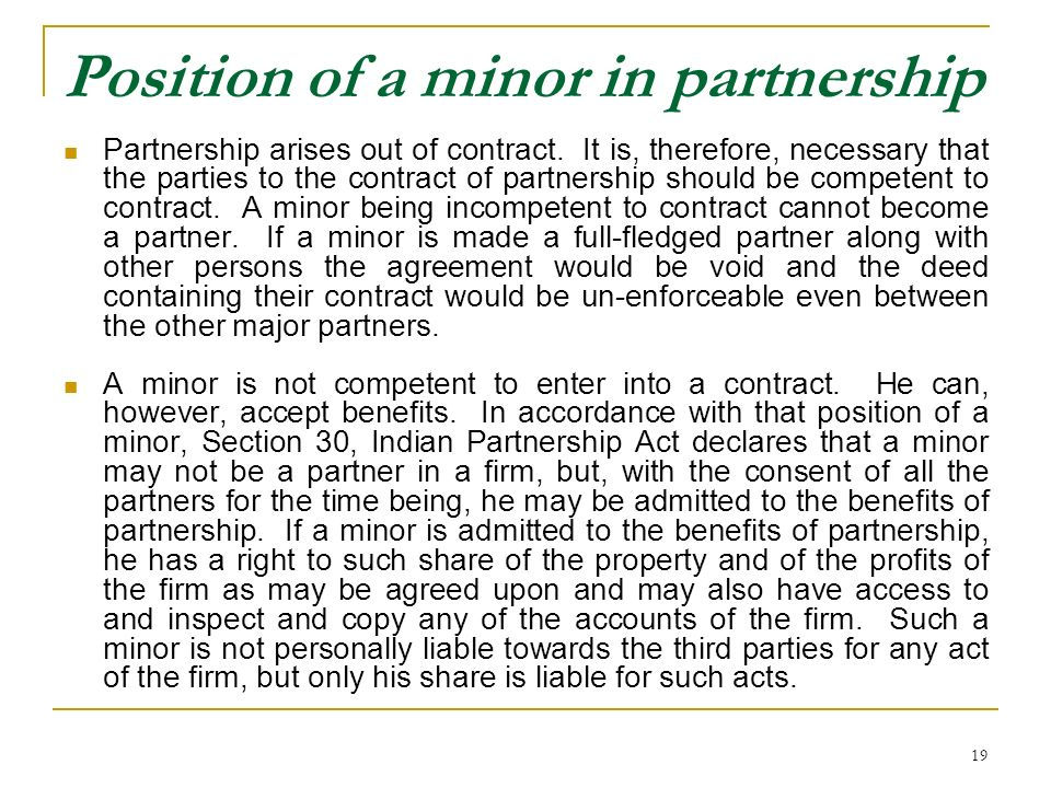 Position of a minor in partnership