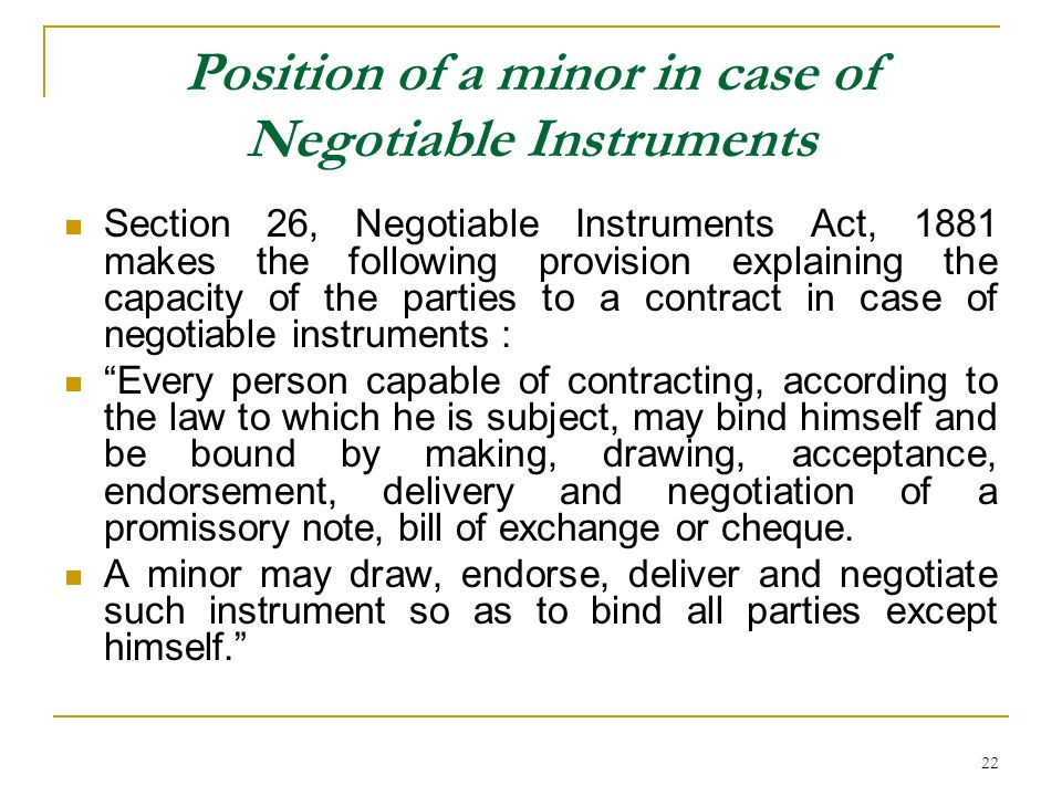 Position of a minor in case of Negotiable Instruments