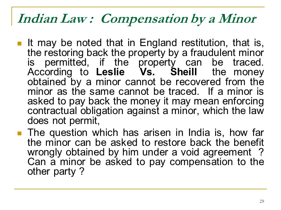 Indian Law : Compensation by a Minor