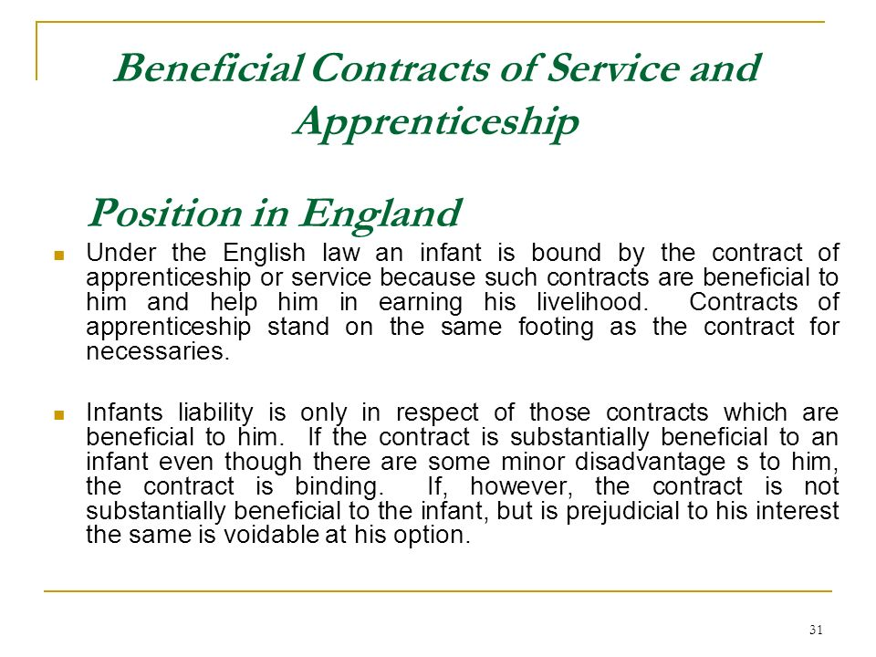 Beneficial Contracts of Service and Apprenticeship