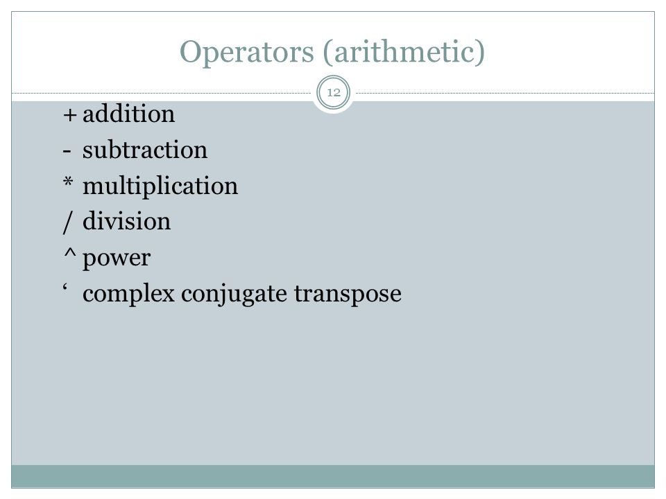 Operators (arithmetic)