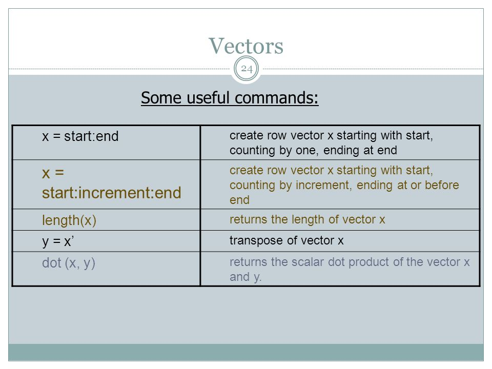 Vectors x = start:increment:end Some useful commands: x = start:end