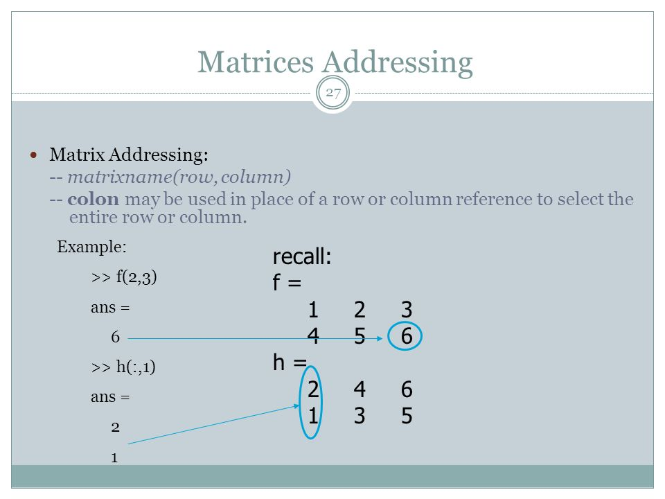 Matrices Addressing recall: f = 1 2 3 4 5 6 h = 2 4 6 1 3 5