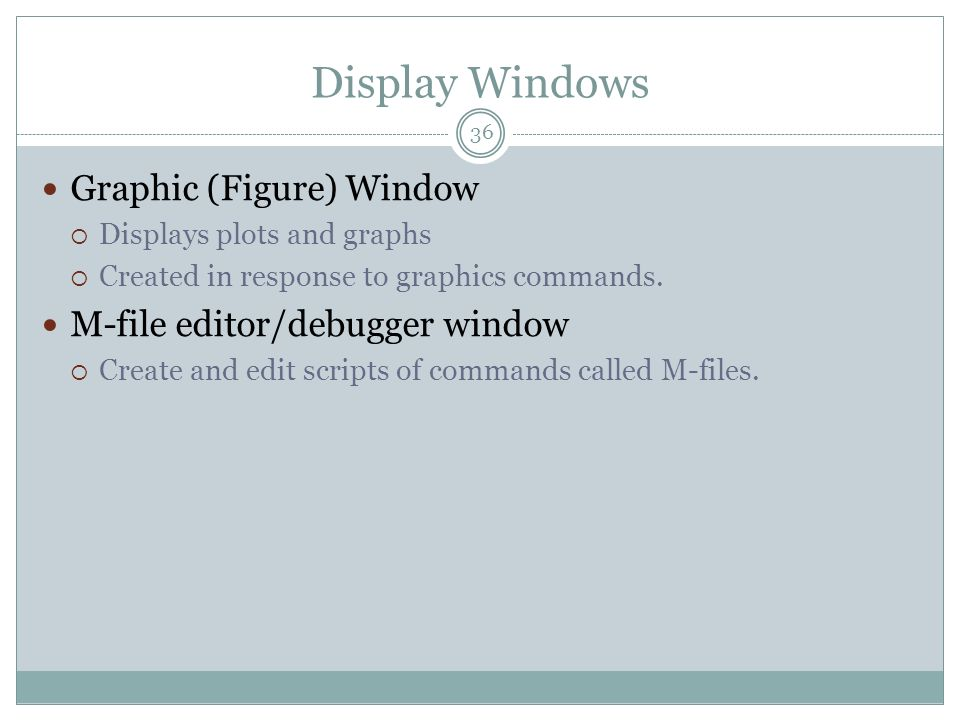 Display Windows Graphic (Figure) Window M-file editor/debugger window