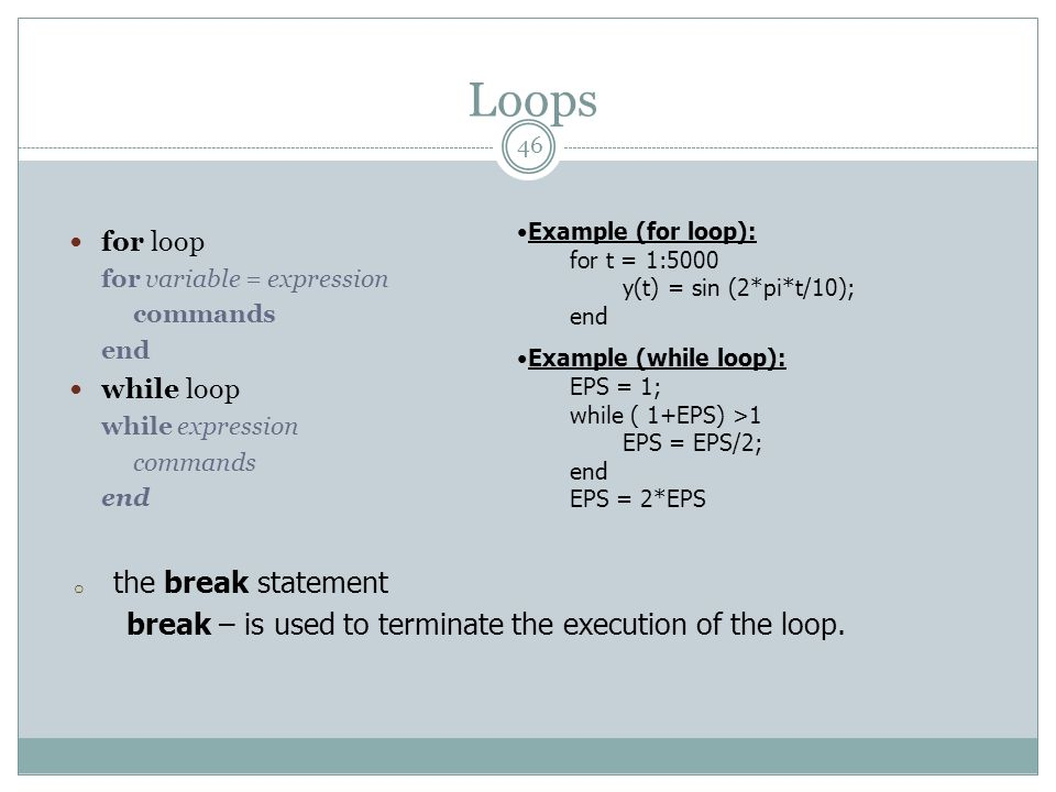 Loops the break statement