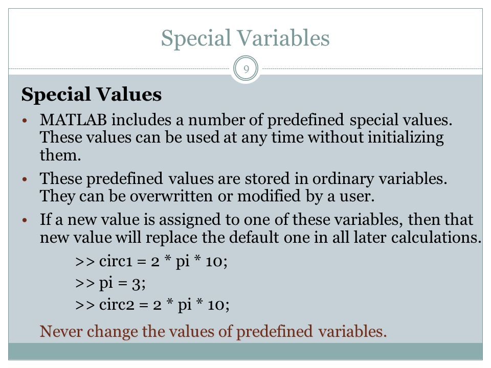 Special Variables Special Values