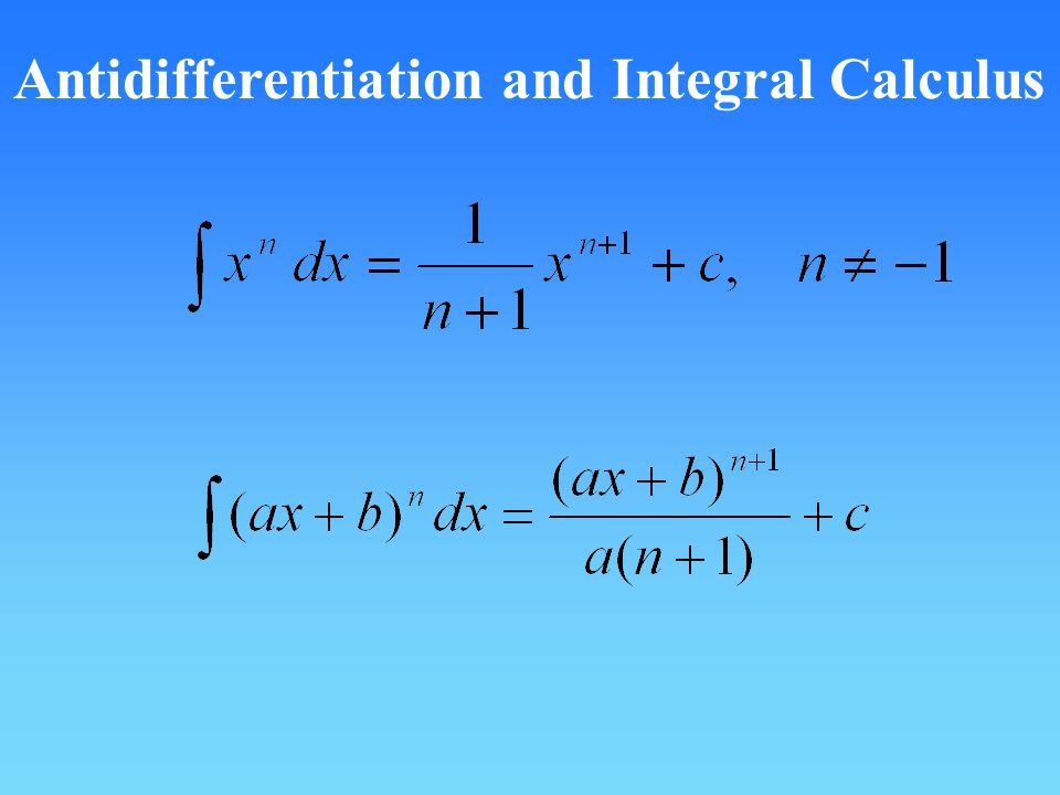 Antidifferentiation and Integral Calculus