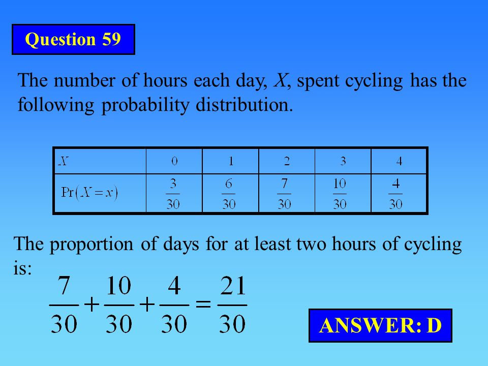 Question 59 The number of hours each day, X, spent cycling has the following probability distribution.