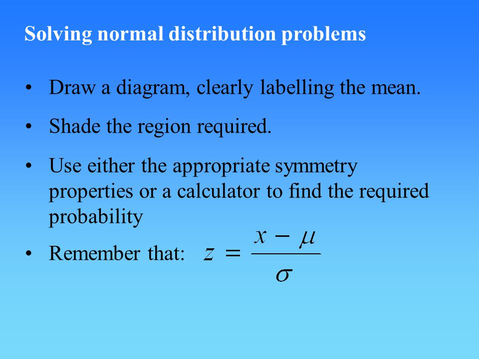 Solving normal distribution problems