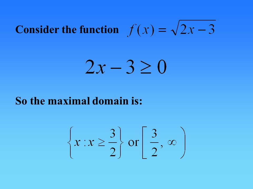 Consider the function So the maximal domain is: