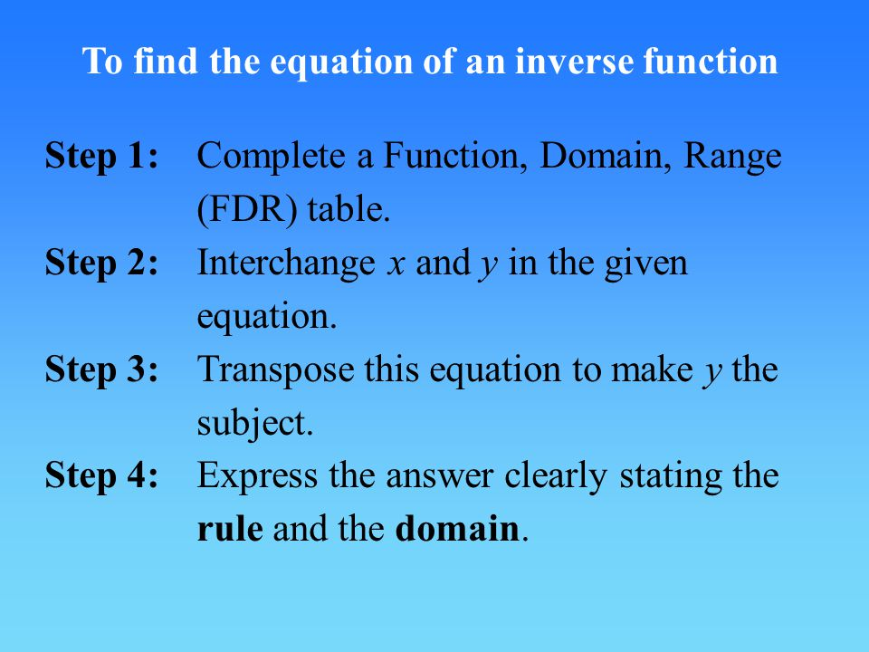 To find the equation of an inverse function