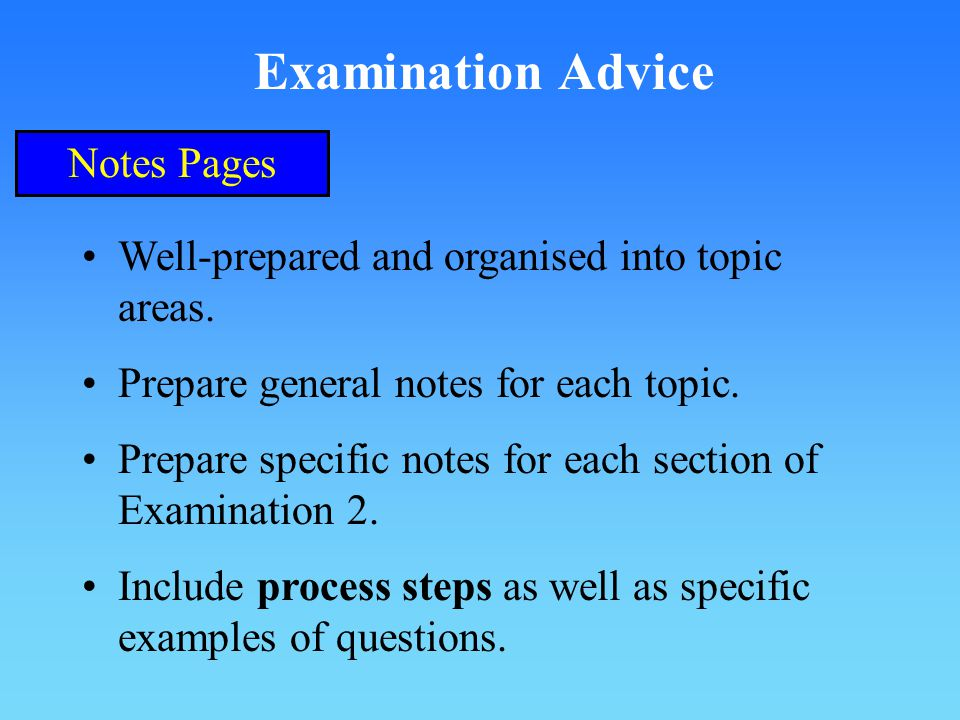 Examination Advice Notes Pages