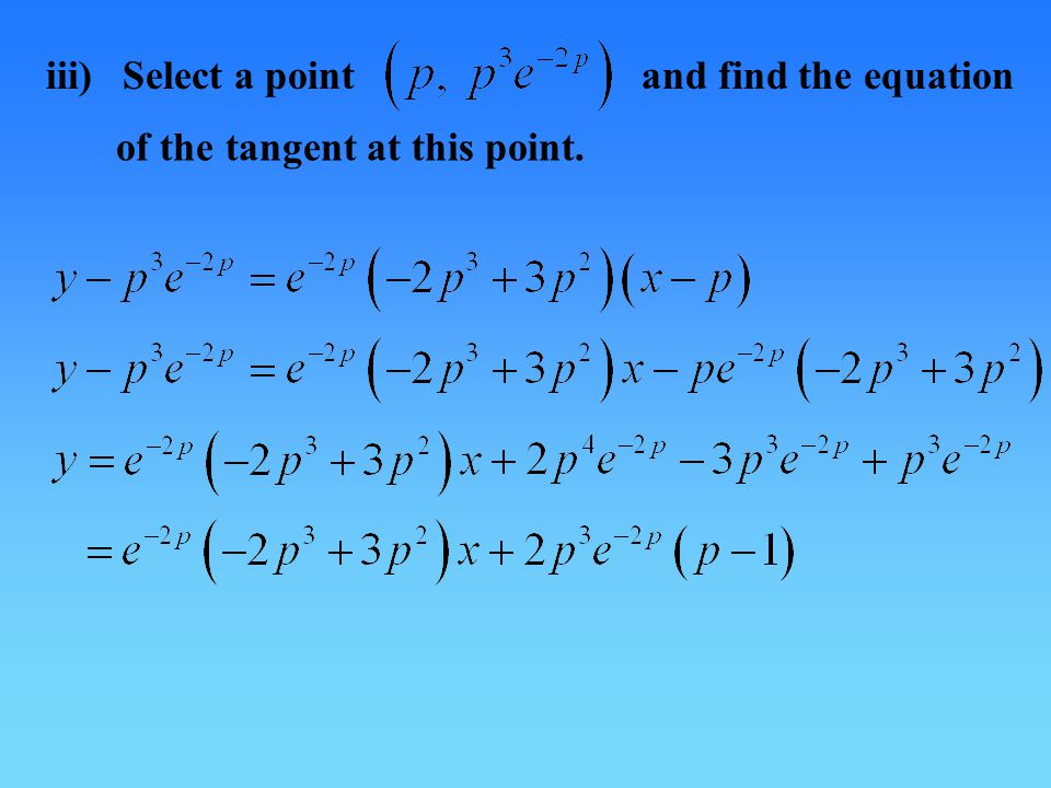 iii) Select a point and find the equation of the tangent at this point.