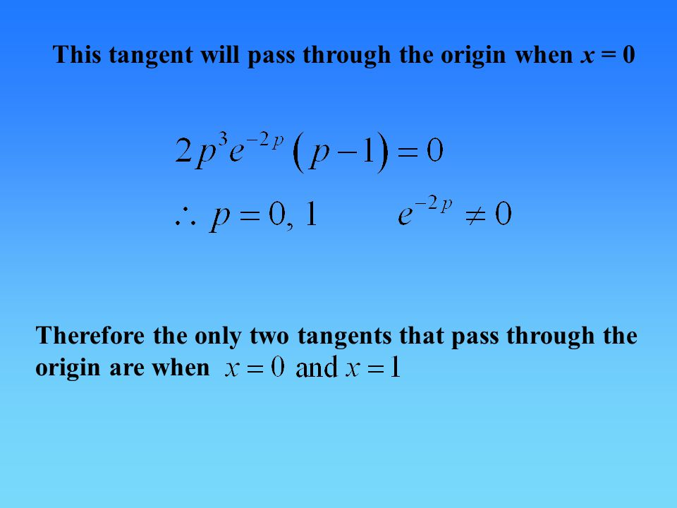 This tangent will pass through the origin when x = 0