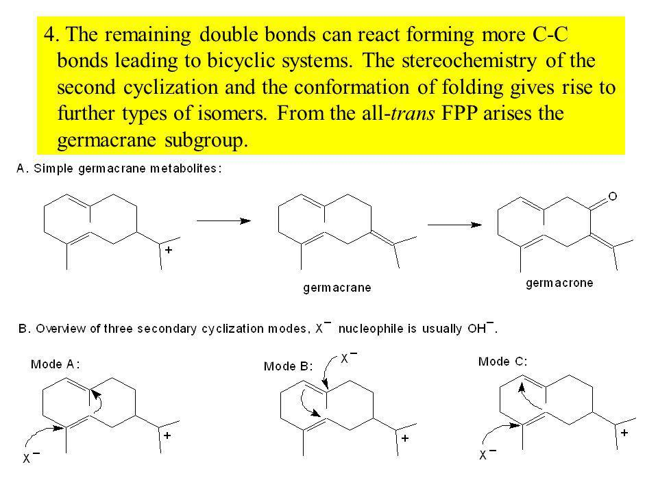 4. The remaining double bonds can react forming more C-C bonds leading to bicyclic systems.