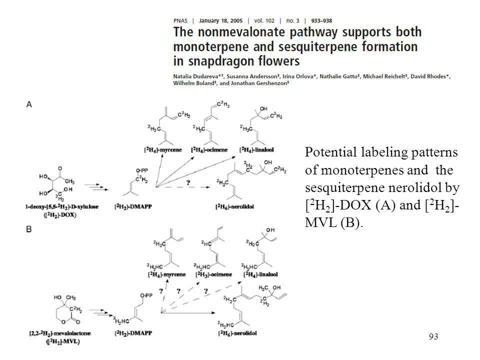 Potential labeling patterns of monoterpenes and the sesquiterpene nerolidol by [2H2]-DOX (A) and [2H2]-MVL (B).