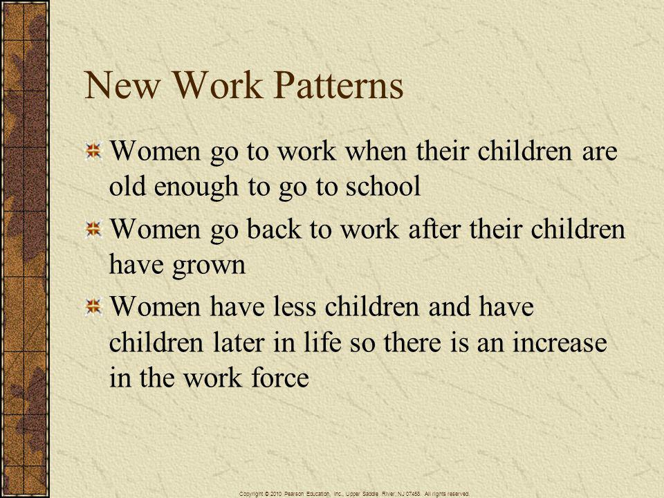 New Work Patterns Women go to work when their children are old enough to go to school. Women go back to work after their children have grown.