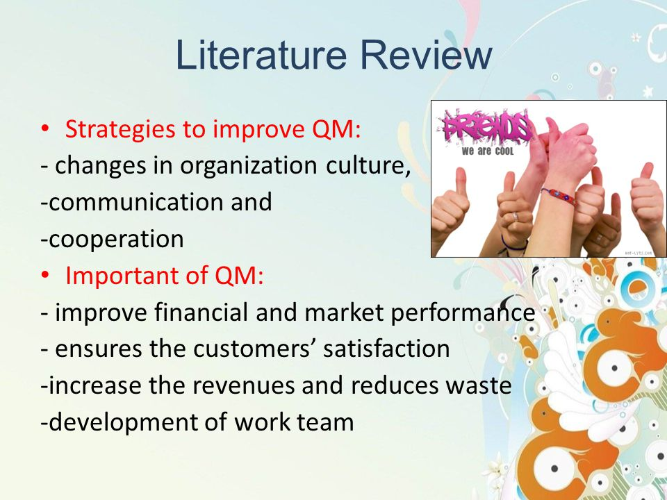 Literature Review Strategies to improve QM: