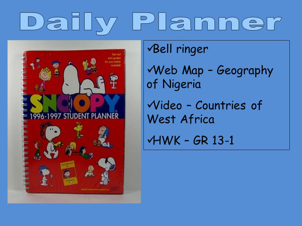 Daily Planner Bell ringer Web Map – Geography of Nigeria